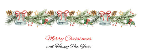 Watercolor vector Christmas banner with fir branches and bells.