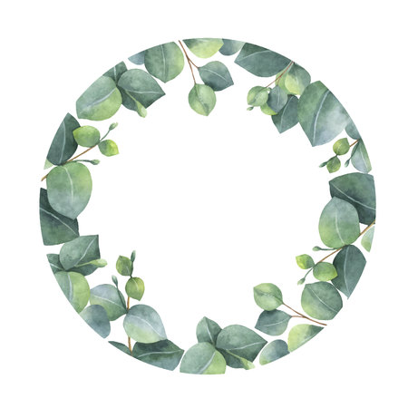 Watercolor vector frame with green eucalyptus leaves and branches.