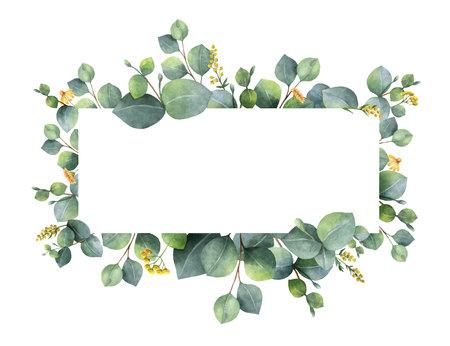 couronne de vecteur aquarelle avec des feuilles d & # 39 ; eucalyptus vert et des symboles