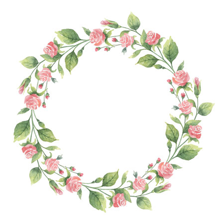 Watercolor wreath of green branches and flowers roses.