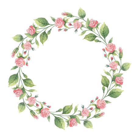 Couronne aquarelle de branches vertes et de fleurs roses.