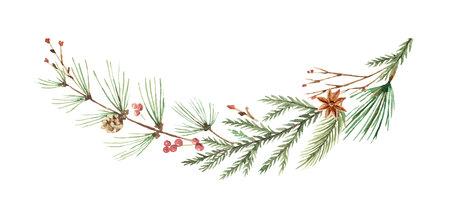 Akwarela wektor Boże Narodzenie wieniec z gałęzi jodłowych i miejsce na tekst.
