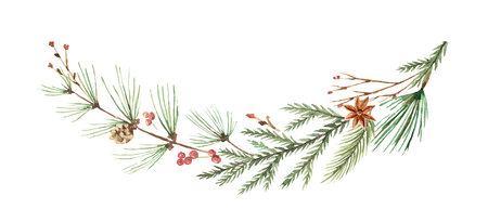 Watercolor vector Christmas wreath with fir branches and place for text. Reklamní fotografie - 91913366