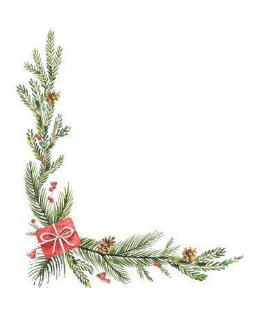 Watercolor vector Christmas decorative corner with fir branches, gifts and cones.