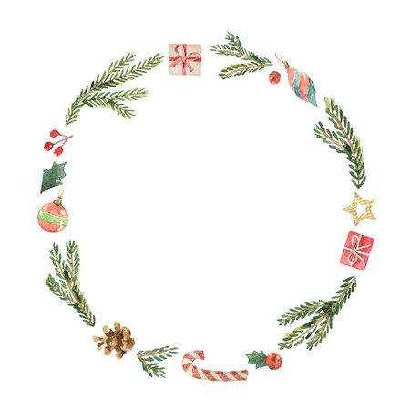 Aquarel Kerst frame met dennentakken, geschenken en plaats voor tekst.
