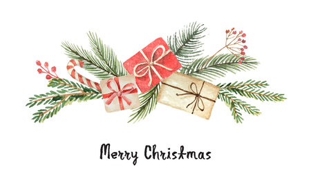 Watercolor vector Christmas wreath with fir branches, gifts and place for text. Illustration