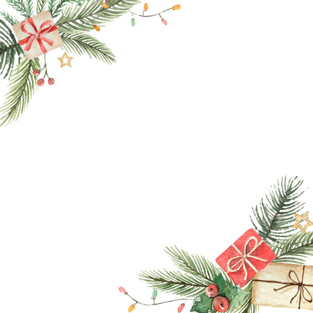 Watercolor vector Christmas decorative card with fir branches and flower poinsettias.