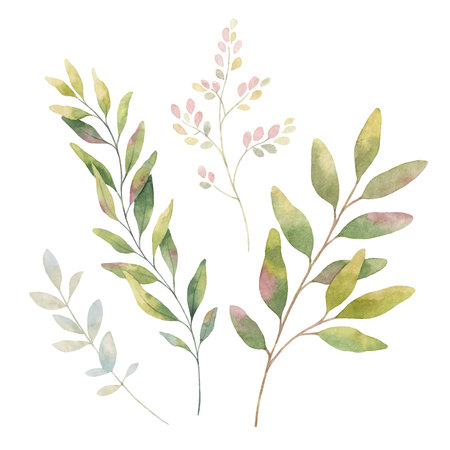 Hand drawn vector watercolor set green branches.