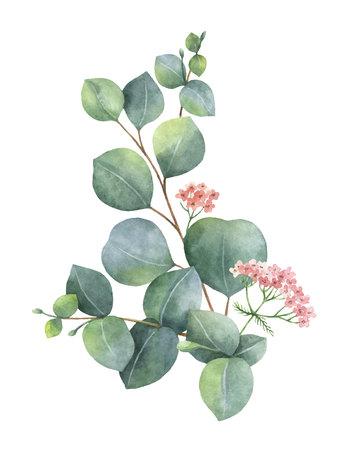 Couronne de vecteur aquarelle avec des feuilles et des branches d'eucalyptus vert. Fleurs de printemps ou d'été pour invitation, mariage ou cartes de voeux. Banque d'images - 92658926