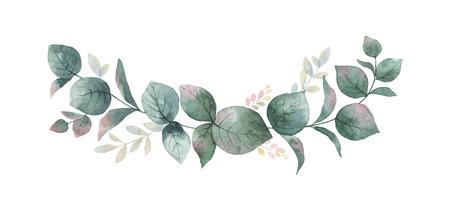 Acquerello vettore corona con foglie di eucalipto verdi e rami.