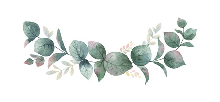Watercolor vector wreath with green eucalyptus leaves and branches. Standard-Bild - 92660762