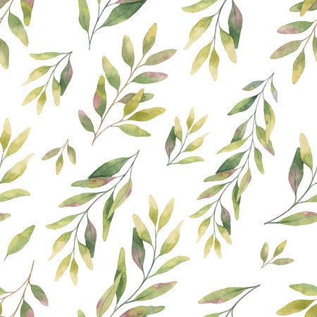 Watercolor vector seamless pattern with silver dollar eucalyptus leaves and branches.