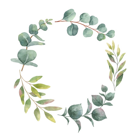 Watercolor vector wreath with green eucalyptus leaves and branches. Spring or summer flowers for invitation, wedding or greeting cards.  イラスト・ベクター素材