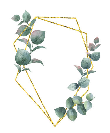 Watercolor composition from the branches of eucalyptus and gold geometric frame. Spring or summer flowers for invitation, wedding or greeting cards.