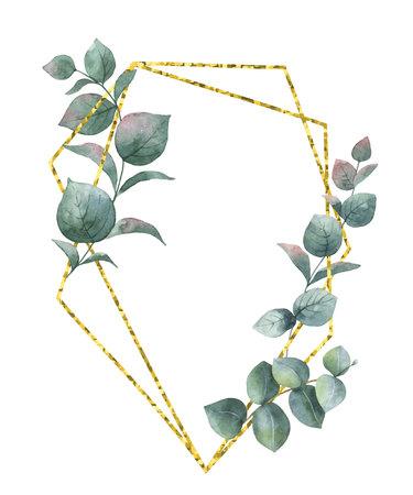 Waterverfsamenstelling van de takken van eucalyptus en gouden geometrisch kader. Lente of zomer bloemen voor uitnodiging, bruiloft of wenskaarten.