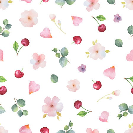 Watercolor vector hand painted seamless pattern from green leaves, flowers roses and hearts. Illustration for Valentines day, greeting cards, wedding invitations, textile, wrapping paper.