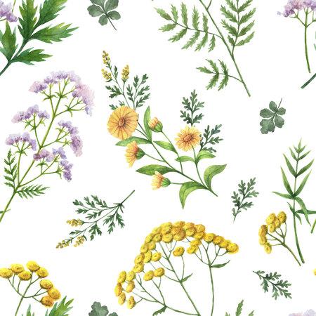 Waterverf vector naadloos patroon met bloemen en takken.
