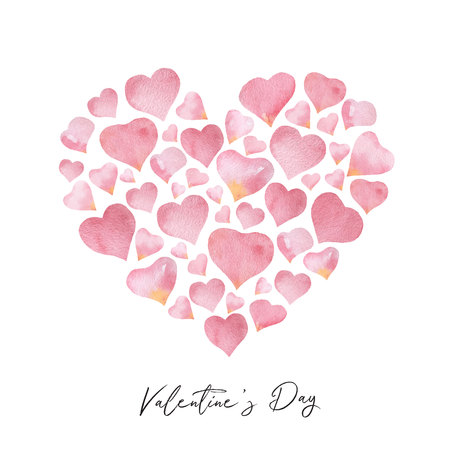 Watercolor vector composition in the shape of a heart.
