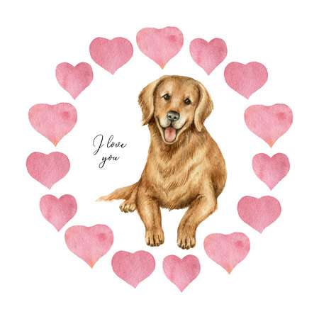 Watercolor vector round frame with hearts and dog retriever . Illustration for Valentine's day, invitations and greeting cards. Illustration