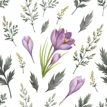 Watercolor vector seamless pattern with flowers and branches.