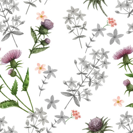 꽃과 나뭇 가지와 수채화 벡터 원활한 패턴.