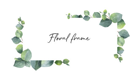 Watercolor vector wreath with green eucalyptus leaves and branches. Spring or summer flowers for invitation, wedding or greeting cards. Banco de Imagens - 93853146