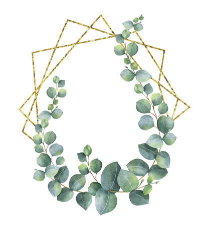 Composição da aguarela dos ramos do frame geométrico do eucalipto e do ouro. Flores de primavera ou verão para convite, casamento ou cartões comemorativos.