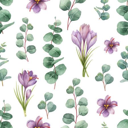 실버 달러 유 칼 리 나무 잎과 사프란의 꽃 수채화 벡터 원활한 패턴.