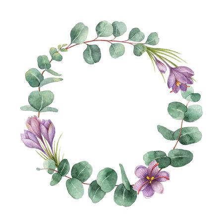 Waterverf vector ronde krans met eucalyptusbladeren en bloemen van saffraan.