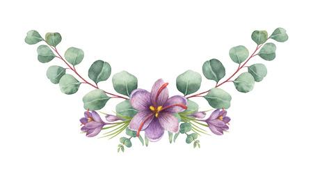 수채화 벡터 헌화는 녹색 유 칼 리 나무 잎과 사프란의 꽃.