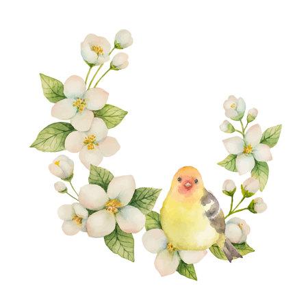 Grinalda do vetor da aquarela com o jasmim do pássaro e das flores isolado em um fundo branco. Ilustração floral para design cartões, convites de casamento, cosméticos naturais, embalagem e chá.