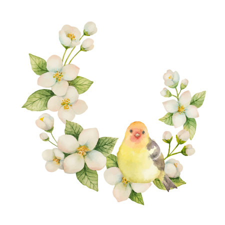 Watercolor vector wreath with bird and flowers Jasmine isolated on a white background. Floral illustration for design greeting cards, wedding invitations, natural cosmetics, packaging and tea.