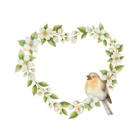 Aquarellvektorrahmen in Form eines Herzens mit dem Vogel und Blumen Jasmin lokalisiert auf einem weißen Hintergrund. Frühlingsillustration für Grußkarten, Hochzeitseinladungen und Verpackung.