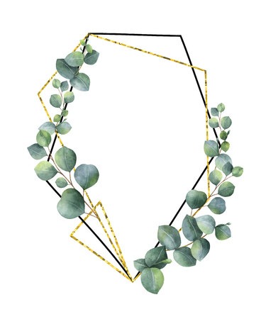 Watercolor vector composition from the branches of eucalyptus and gold geometric frame.