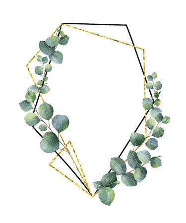 Waterverf vectorsamenstelling van de takken van eucalyptus en gouden geometrisch kader. Stock Illustratie
