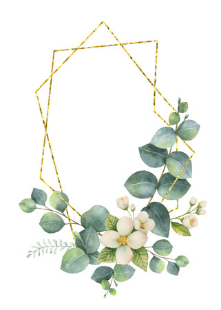 Watercolor vector composition from the branches of eucalyptus and gold geometric frame. Banco de Imagens - 94466247