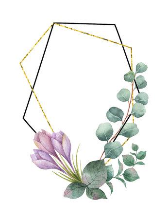 유칼립투스, 자주색 꽃과 골드 기하학적 프레임의 분기에서 수채화 벡터 조성. 일러스트