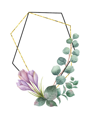 Watercolor vector composition from the branches of eucalyptus, purple flowers and gold geometric frame.