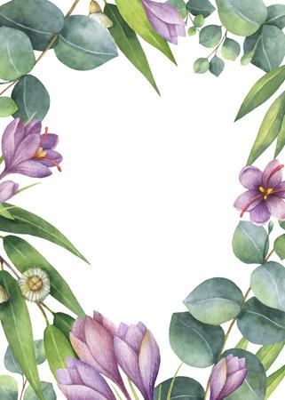 수채화 벡터 유 칼립 나무 잎, 보라색 꽃과 흰색 배경에 고립 된 분기 녹색 꽃 카드. 일러스트