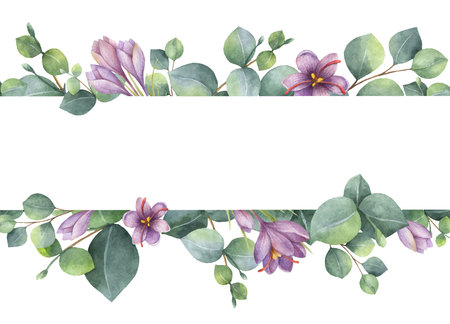 Watercolor vector wreath with green eucalyptus leaves, purple flowers and branches. Vettoriali