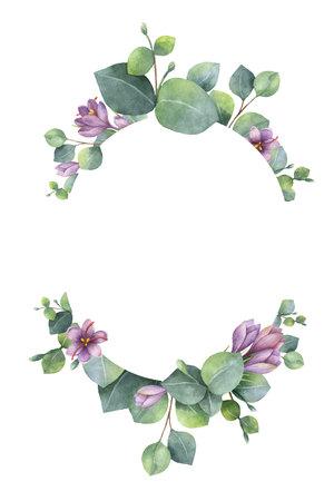 Wieniec wektor akwarela z zielonych liści eukaliptusa, fioletowe kwiaty i gałęzie. Ilustracje wektorowe