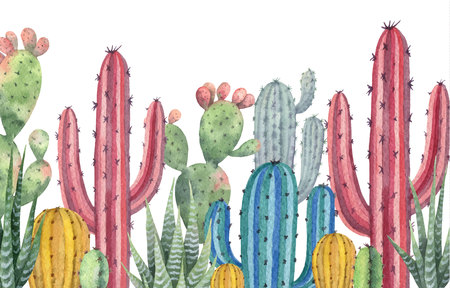 Watercolor vector banner of cacti and succulent plants