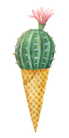 Watercolor vector cactus in a waffle cone isolated on white background. Ilustração