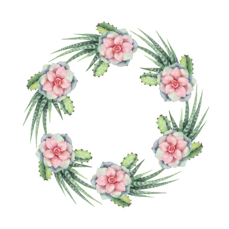 Watercolor vector wreath of cacti and succulent plants isolated on white background. Imagens - 96327406