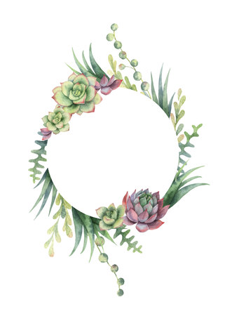 Watercolor vector frame of cacti and succulent plants isolated on white background. Ilustração