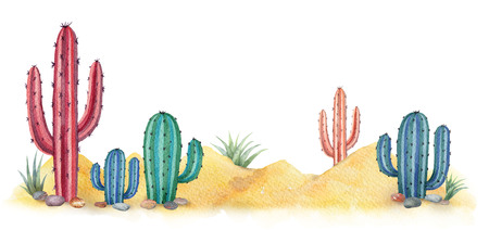 Watercolor background with desert and cacti. Standard-Bild - 97550353