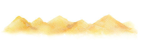 Watercolor horizontal background of a landscape with a desert. Banco de Imagens