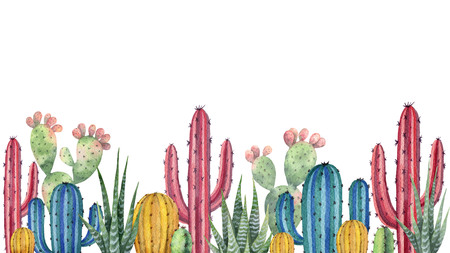 Watercolor background with desert and cacti.