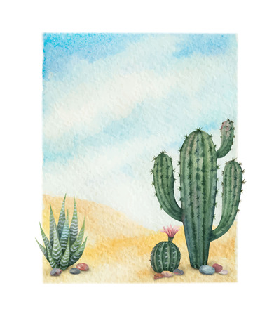 Watercolor vector background with desert and cacti. Imagens - 97500982