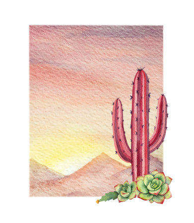 Watercolor vector background with desert and cactus.